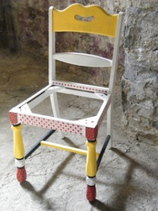 Marcia Richards' painted chairs for outdoor planters or home use